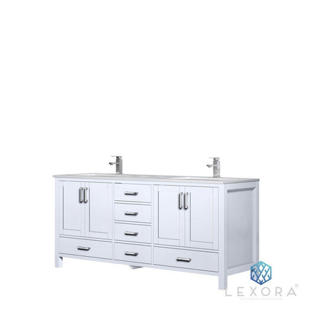 "Lexora Jacques 72"" Double Vanity with White Carrara Marble Top Lexora 72 inch and larger Double Vanity White"
