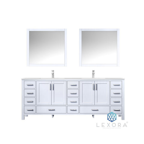 "Lexora Jacques 84"" Double Vanity, White Carrara Marble Top and 34"" Mirrors with Faucets Lexora 72 inch and larger Double Vanity White"