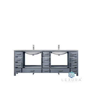 "Lexora Jacques 84"" Double Vanity with White Carrara Marble Top Lexora 72 inch and larger Double Vanity"