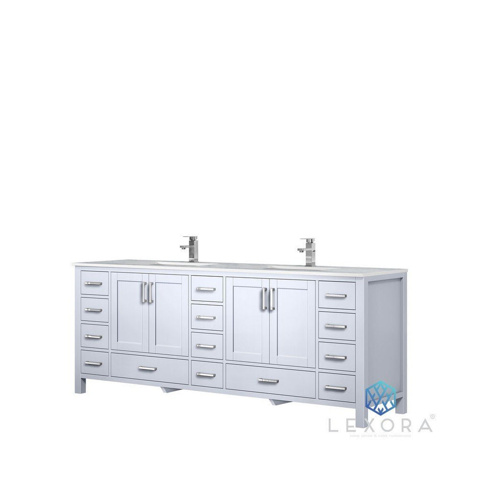 "Lexora Jacques 84"" Double Vanity with White Carrara Marble Top Lexora 72 inch and larger Double Vanity White"