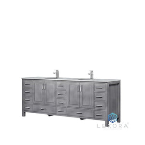 "Lexora Jacques 84"" Double Vanity with White Carrara Marble Top Lexora 72 inch and larger Double Vanity Distressed Grey"