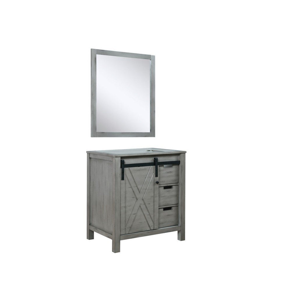"Lexora Marsyas 30"" Single Vanity, White Quartz Top and 28"" Mirror with Faucet Lexora 30 inch Single Vanity"