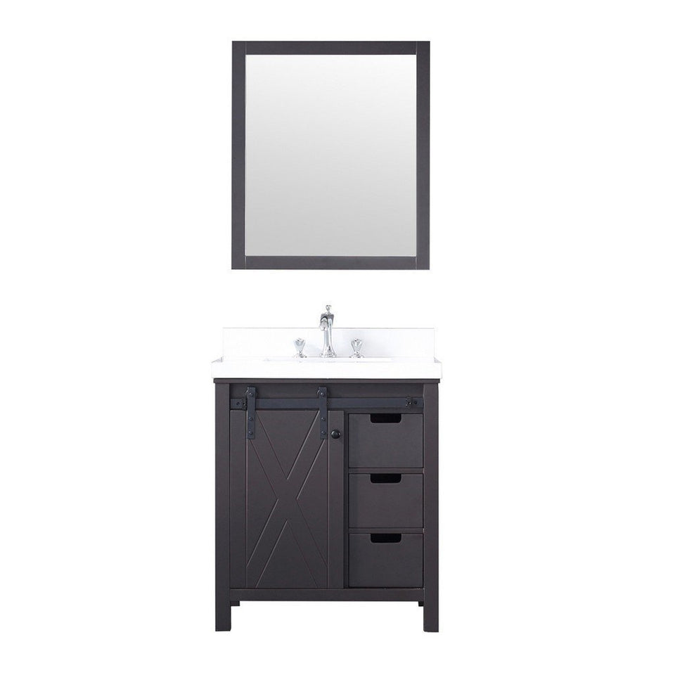 "Lexora Marsyas 30"" Single Vanity, White Quartz Top and 28"" Mirror with Faucet Lexora 30 inch Single Vanity Brown"