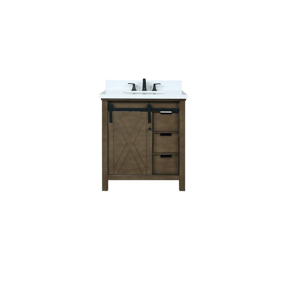 "Lexora Marsyas 30"" Single Vanity, White Quartz Top and 28"" Mirror with Faucet Lexora 30 inch Single Vanity Rustic Brown"