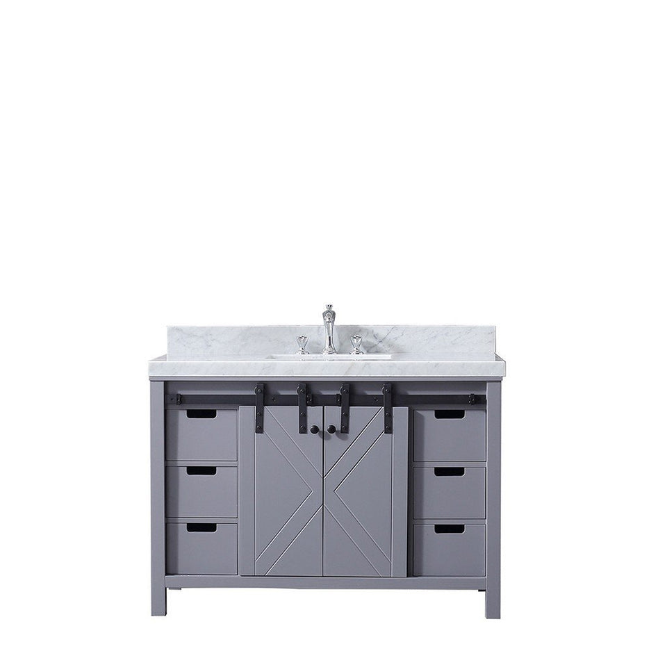 "Lexora Marsyas 48"" Single Vanity, White Carrara Marble Top and 44"" Mirror with Faucet Lexora 48 inch Single Vanity"