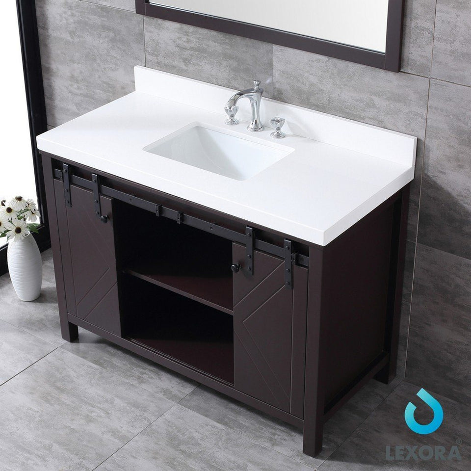 "Lexora Marsyas 48"" Single Vanity, White Quartz Top and 44"" Mirror Lexora 48 inch Single Vanity"