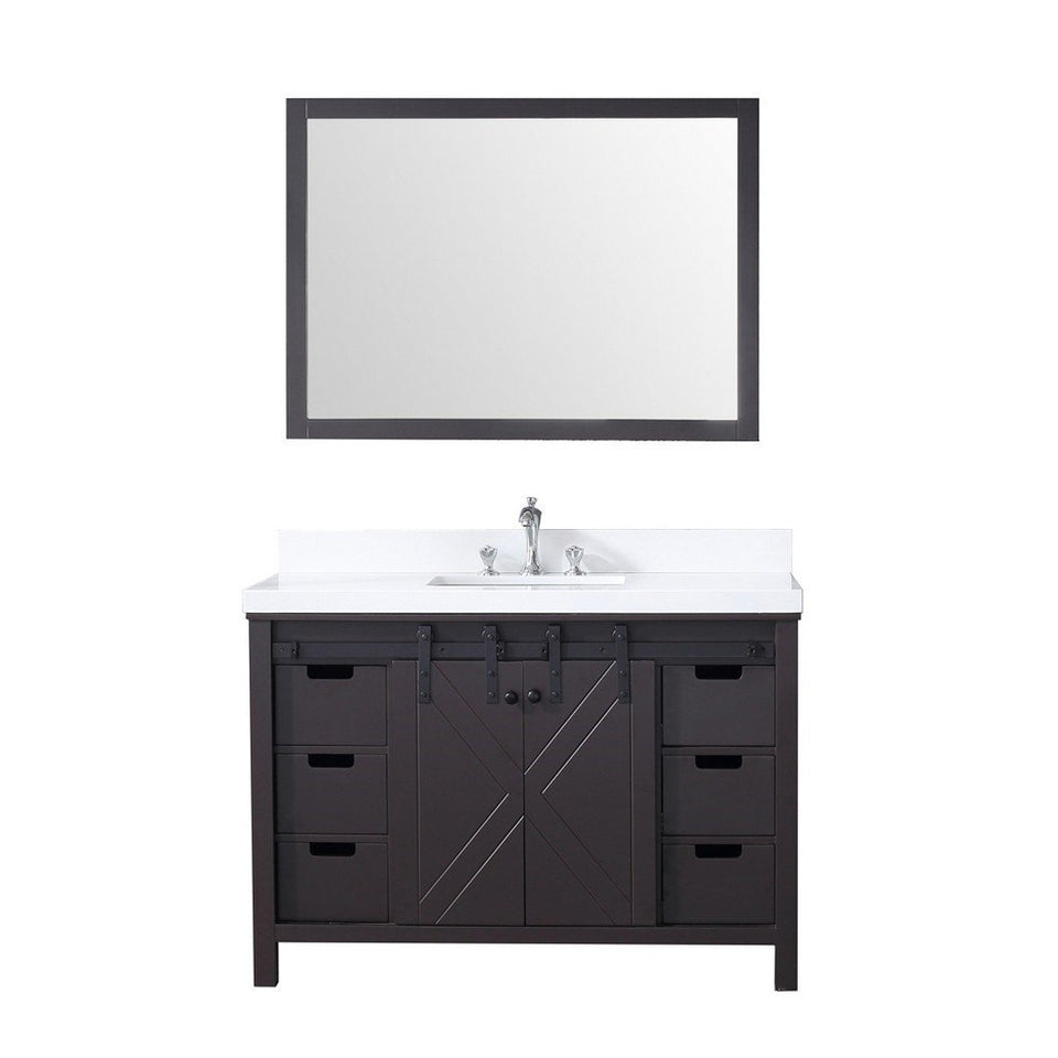 "Lexora Marsyas 48"" Single Vanity, White Quartz Top and 44"" Mirror Lexora 48 inch Single Vanity Brown"