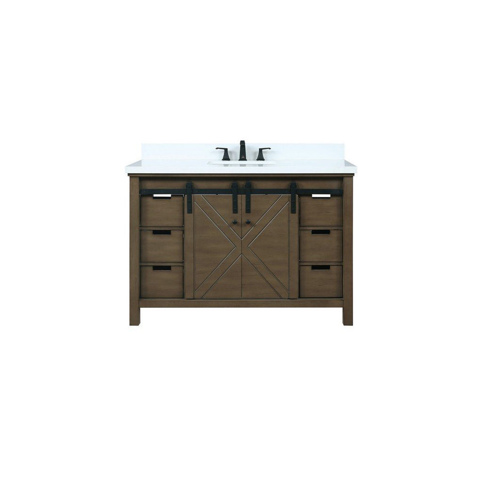 "Lexora Marsyas 48"" Single Vanity, White Quartz Top and 44"" Mirror Lexora 48 inch Single Vanity Rustic Brown"