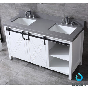 "Lexora Marsyas 60"" Double Vanity, Grey Quartz Top and 24"" Mirrors Lexora 60 inch Double Vanity"