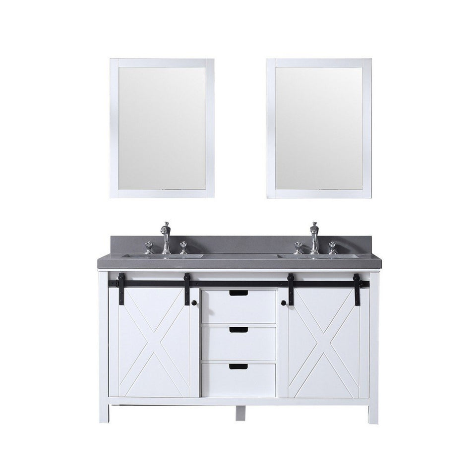 "Lexora Marsyas 60"" Double Vanity, Grey Quartz Top and 24"" Mirrors Lexora 60 inch Double Vanity White"