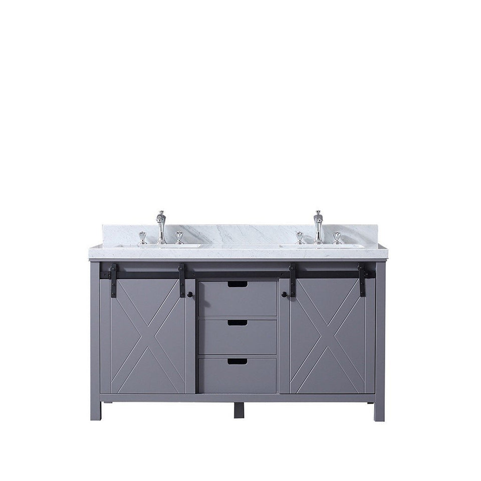 "Lexora Marsyas 60"" Double Vanity, White Carrara Marble Top and 24"" Mirrors with Faucets Lexora 60 inch Double Vanity"