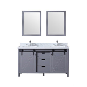 "Lexora Marsyas 60"" Double Vanity, White Carrara Marble Top and 24"" Mirrors with Faucets Lexora 60 inch Double Vanity Dark Grey"