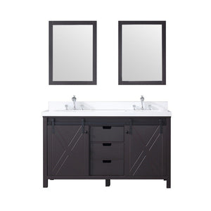 "Lexora Marsyas 60"" Double Vanity, White Quartz Top and 24"" Mirrors Lexora 60 inch Double Vanity Brown"