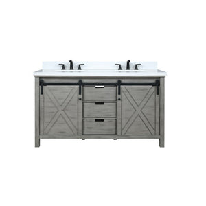 "Lexora Marsyas 60"" Double Vanity, White Quartz Top and 24"" Mirrors Lexora 60 inch Double Vanity Ash Grey"