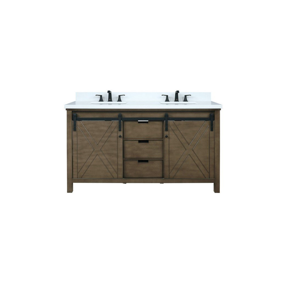 "Lexora Marsyas 60"" Double Vanity, White Quartz Top and 24"" Mirrors Lexora 60 inch Double Vanity Rustic Brown"