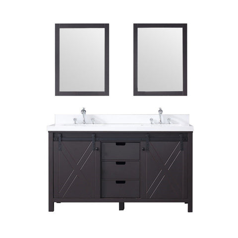 "Lexora Marsyas 60"" Double Vanity, White Quartz Top and 24"" Mirrors with Faucets Lexora 60 inch Double Vanity Brown"