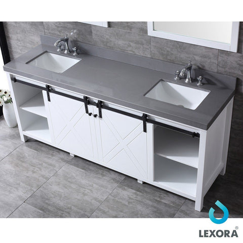 "Lexora Marsyas 80"" Double Vanity, Grey Quartz Top and 30"" Mirrors with Faucets Lexora 72 inch and larger Double Vanity White"
