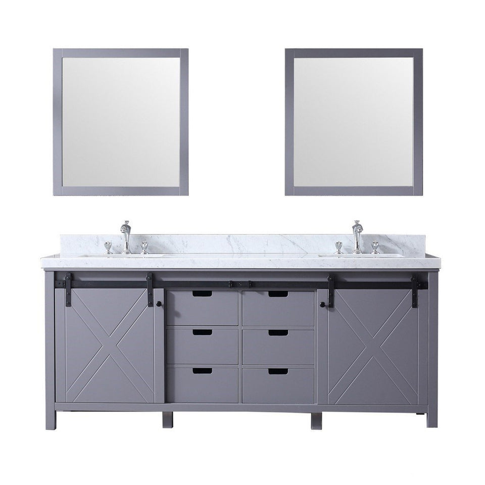 "Lexora Marsyas 80"" Double Vanity, White Carrara Marble Top and 30"" Mirrors Lexora 72 inch and larger Double Vanity Dark Grey"