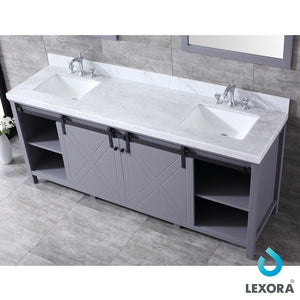 "Lexora Marsyas 80"" Double Vanity, White Carrara Marble Top and 30"" Mirrors with Faucets Lexora 72 inch and larger Double Vanity"