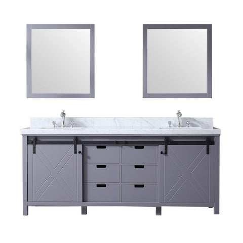 "Lexora Marsyas 80"" Double Vanity, White Carrara Marble Top and 30"" Mirrors with Faucets Lexora 72 inch and larger Double Vanity Dark Grey"