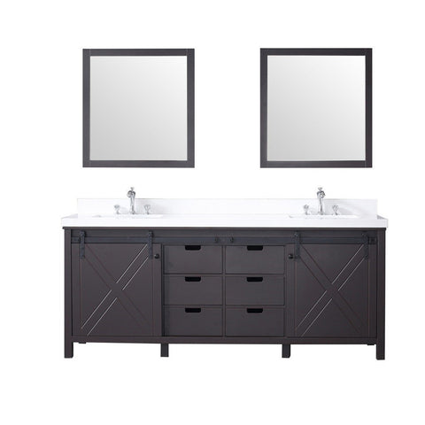 "Lexora Marsyas 80"" Double Vanity, White Quartz Top and 30"" Mirrors with Faucets Lexora 72 inch and larger Double Vanity Brown"