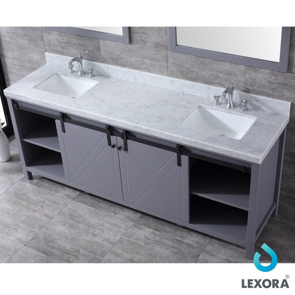 "Lexora Marsyas 84"" Double Vanity, White Carrara Marble Top and 34"" Mirrors with Faucets Lexora 72 inch and larger Double Vanity"