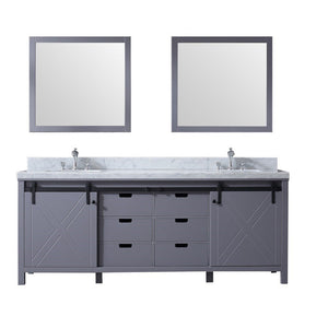 "Lexora Marsyas 84"" Double Vanity, White Carrara Marble Top and 34"" Mirrors with Faucets Lexora 72 inch and larger Double Vanity Dark Grey"