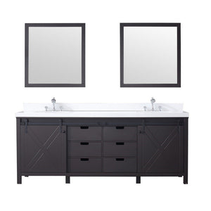 "Lexora Marsyas 84"" Double Vanity, White Quartz Top and 34"" Mirrors Lexora 72 inch and larger Double Vanity Brown"
