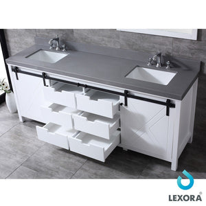 "Lexora Marsyas 84"" Double Vanity with Grey Quartz Top Lexora 72 inch and larger Double Vanity"