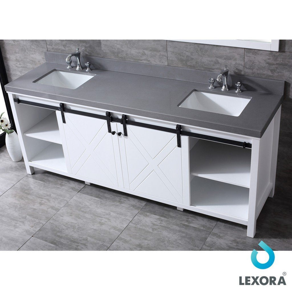 "Lexora Marsyas 84"" Double Vanity with Grey Quartz Top Lexora 72 inch and larger Double Vanity White"