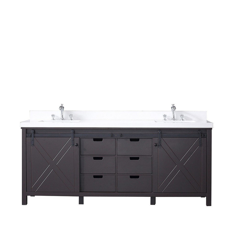 "Lexora Marsyas 84"" Double Vanity with White Quartz Top Lexora 72 inch and larger Double Vanity Brown"