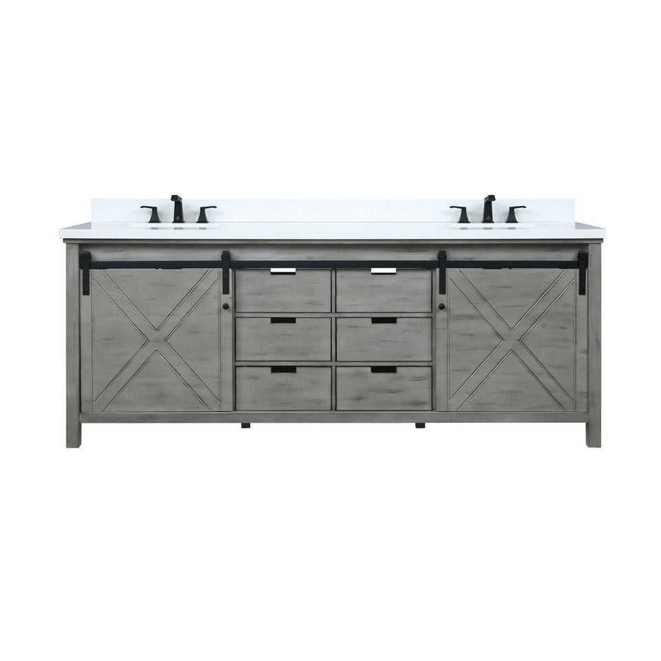 "Lexora Marsyas 84"" Double Vanity with White Quartz Top Lexora 72 inch and larger Double Vanity Ash Grey"