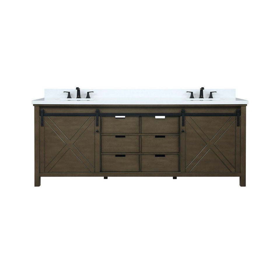 "Lexora Marsyas 84"" Double Vanity with White Quartz Top Lexora 72 inch and larger Double Vanity Rustic Brown"