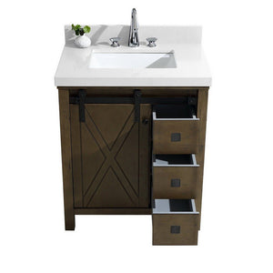 "Lexora Marsyas Veluti 30"" Single Vanity, White Quartz Top and 28"" Mirror Lexora 30 inch Single Vanity"