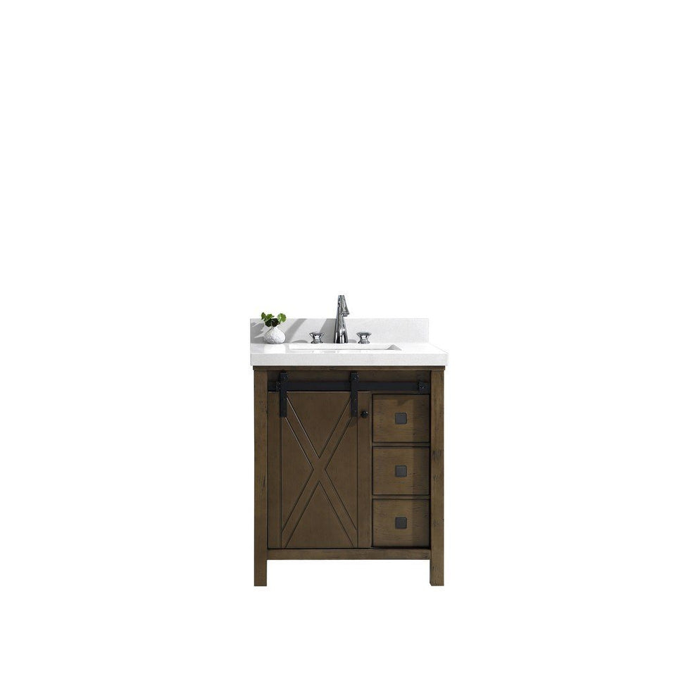 "Lexora Marsyas Veluti 30"" Single Vanity, White Quartz Top and 28"" Mirror Lexora 30 inch Single Vanity Rustic Brown"