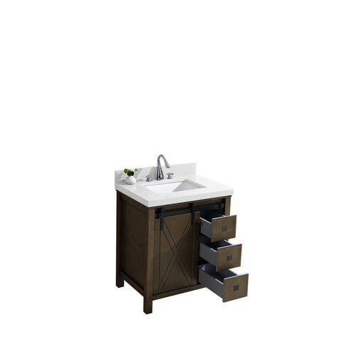 "Lexora Marsyas Veluti 30"" Single Vanity, White Quartz Top and 28"" Mirror with Faucet Lexora 30 inch Single Vanity Rustic Brown"