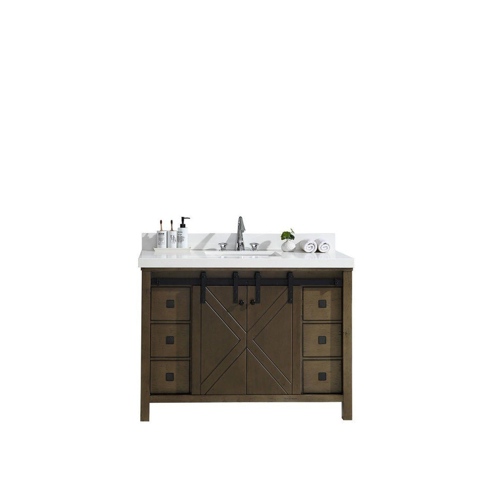 "Lexora Marsyas Veluti 48"" Single Vanity, White Quartz Top and 44"" Mirror with Faucet Lexora 48 inch Single Vanity Rustic Brown"