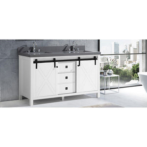 "Lexora Marsyas Veluti 60"" Double Vanity, Grey Quartz Top and 24"" Mirrors with Faucets Lexora 60 inch Double Vanity"