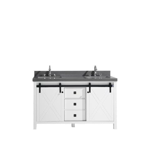 "Lexora Marsyas Veluti 60"" Double Vanity, Grey Quartz Top and 24"" Mirrors with Faucets Lexora 60 inch Double Vanity White"