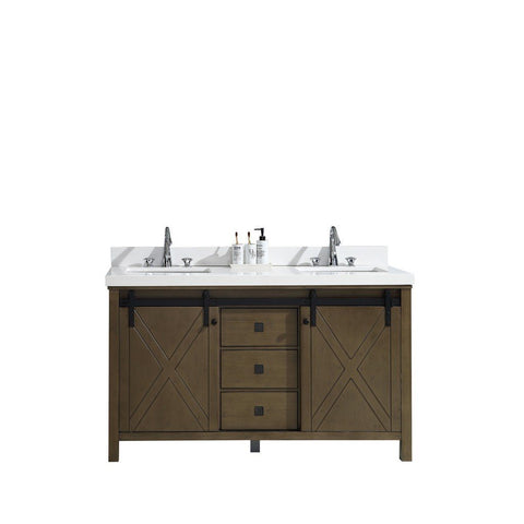 "Lexora Marsyas Veluti 60"" Double Vanity, White Quartz Top and 24"" Mirrors with Faucets Lexora 60 inch Double Vanity Rustic Brown"