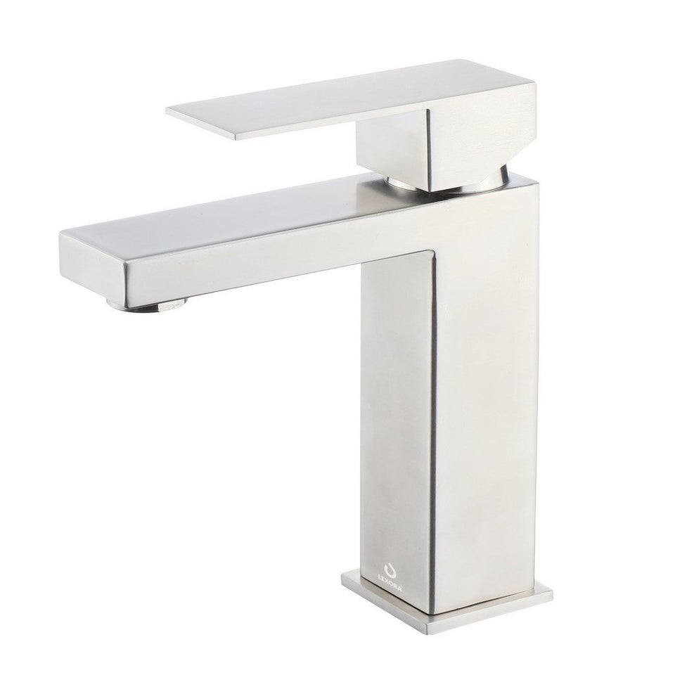 Lexora Monte Stainless Steel Single Hole Bathroom Faucet Lexora Faucets Satin Nickel