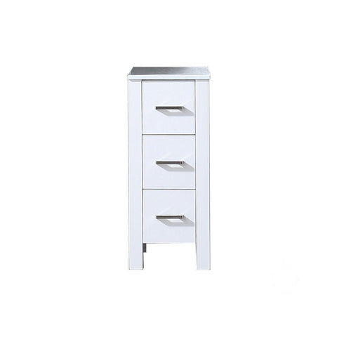 "Lexora Volez 12"" Side Cabinet with Phoenix Stone Top Lexora Side Cabinets White"