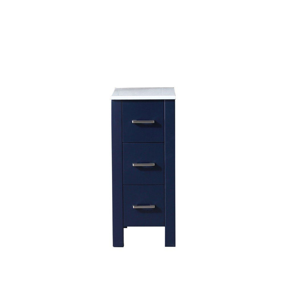 "Lexora Volez 12"" Side Cabinet with Phoenix Stone Top Lexora Side Cabinets Navy Blue"
