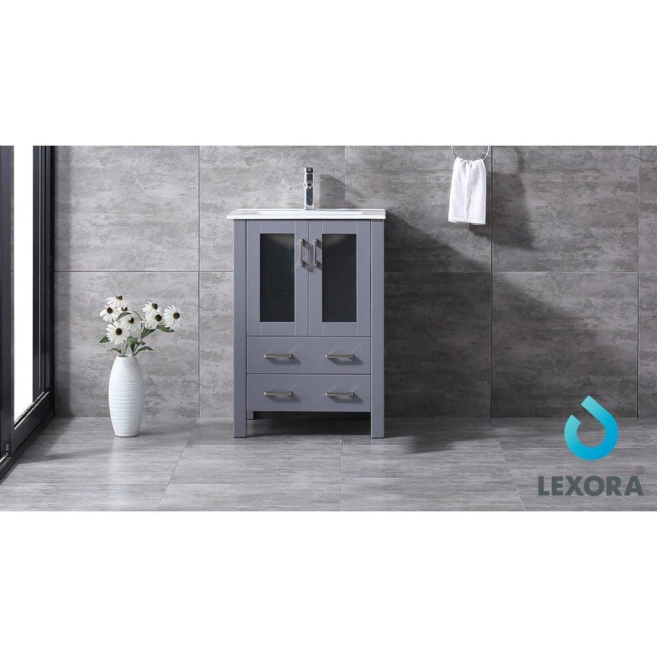 "Lexora Volez 24"" Single Vanity, Integrated Top and 22"" Mirror with Faucet Lexora 24 inch Single Vanity"