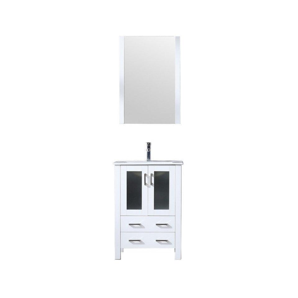 "Lexora Volez 24"" Single Vanity, Integrated Top and 22"" Mirror with Faucet Lexora 24 inch Single Vanity White"