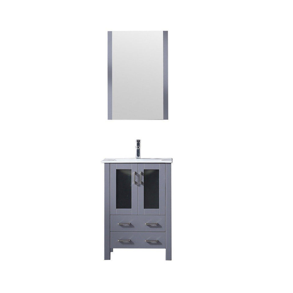 "Lexora Volez 24"" Single Vanity, Integrated Top and 22"" Mirror with Faucet Lexora 24 inch Single Vanity Dark Grey"