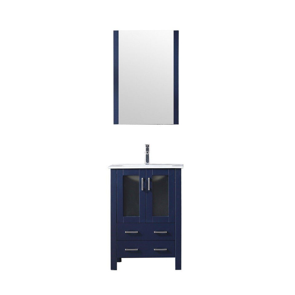 "Lexora Volez 24"" Single Vanity, Integrated Top and 22"" Mirror with Faucet Lexora 24 inch Single Vanity Navy Blue"