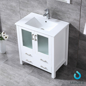 "Lexora Volez 30"" Single Vanity, Integrated Top and 28"" Mirror with Faucet Lexora 30 inch Single Vanity"
