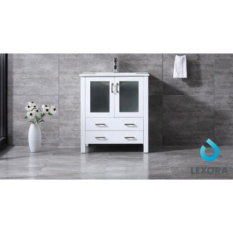 "Lexora Volez 30"" Single Vanity, Integrated Top and 28"" Mirror with Faucet Lexora 30 inch Single Vanity White"