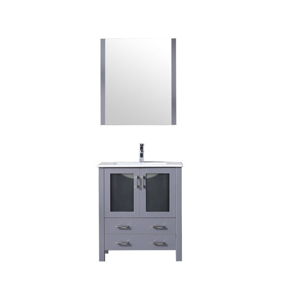 "Lexora Volez 30"" Single Vanity, Integrated Top and 28"" Mirror with Faucet Lexora 30 inch Single Vanity Dark Grey"
